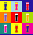 beer glass sign pop-art style colorful vector image vector image