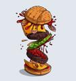 big tasty hamburger with flying ingredients vector image vector image