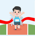 boy jogging marathon race vector image