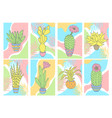 cards with cactuses vector image