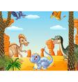 Cartoon of group dinosaur
