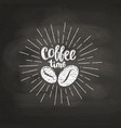 chalk lettering coffee time on black board vector image vector image