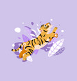 cheerful tiger jumping in rainforest funny tiger vector image vector image