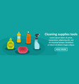 cleaning supplies tools banner horizontal concept vector image