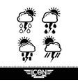 cloud rain sun thunder icon vector image