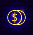 coins dollar neon sign vector image vector image