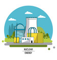 color landscape image nuclear energy production vector image vector image