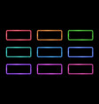 colorful neon frame set 1980s square shape signs vector image