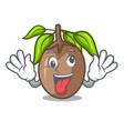 crazy slice sapodilla fruit on shape cartoon vector image vector image