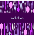 Cutlery pattern invitation Violet background vector image vector image
