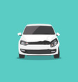 damaged white car front view car accident vector image
