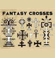 design set with fantasy crosses 6 vector image vector image