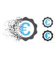 dissolving dotted halftone euro award seal icon vector image vector image