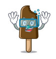 diving chocolate ice cream character cartoon vector image