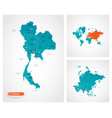 editable template map thailand with marks vector image