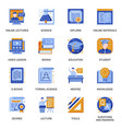 education icons set in flat style vector image