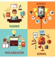Flat concept for web education school science and vector image