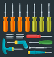 flat various screwdrivers set vector image