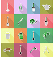 garden tools flat icons 18 vector image vector image