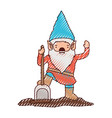 gnome with costume and shovel in colored crayon vector image vector image