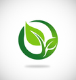 green leaf round ecology logo vector image vector image