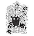 Halloween owl hand lettering banner vector image vector image