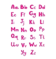 Hand drawn type font pink children alphabet vector image vector image