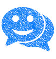 happy chat grunge icon vector image vector image