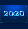 happy new year 2020 blue design vector image vector image