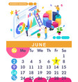 isometric calendar of 2019 business analysis vector image