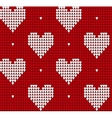 Knitted texture seamless pattern with hearts vector image vector image