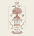 label for whiskey with crown and oak tree vector image vector image