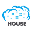 logo windows of houses in the clouds vector image