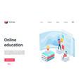 online education landing page online school tutor vector image