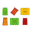 packet icon set color outline style vector image vector image