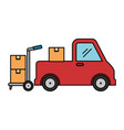 pile boxes carton with truck and cart vector image vector image