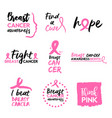 pink breast cancer awareness typography quote set vector image vector image