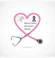 Pink heart ribon signbreast cancer october
