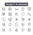 Project planning line icons signs set