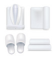 realistic 3d detailed white hotel set vector image vector image