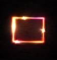 red and yellow neon glowing frame on black brick vector image