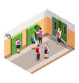 school break isometric composition vector image