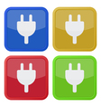 set of four square icons - electrical plug symbol vector image vector image