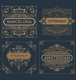 set of four vintage designs vector image