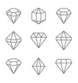 set of monochrome icons with jewels and diamonds vector image vector image