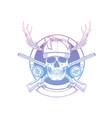 sketch skull with hunter hat vector image