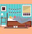 sleeping young girl flat vector image vector image