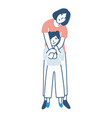smiling mother and daughter warmly hugging or vector image vector image