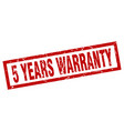 square grunge red 5 years warranty stamp vector image vector image