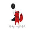 superhero red fox holding a balloon vector image vector image